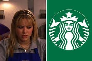 lizzie mcguire and a starbucks logo