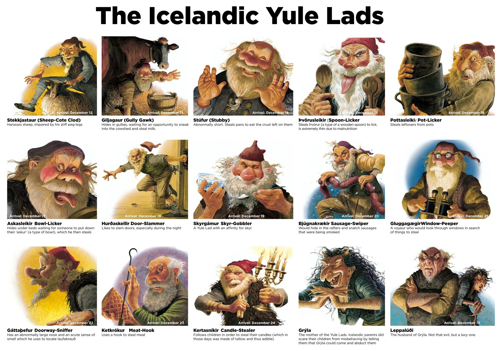Drawings of all 13 Yule Lads ranging from kooky Santa Claus–like to evil-looking