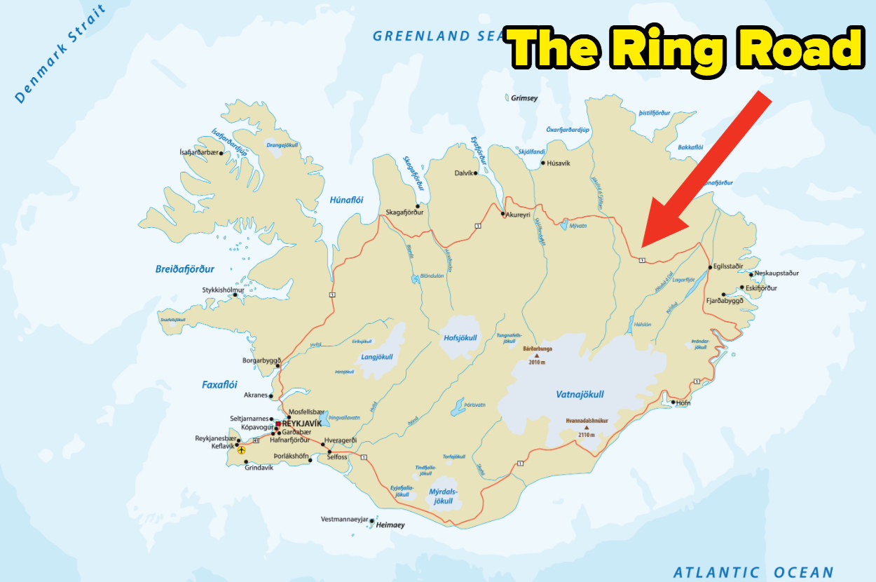 """A map of Iceland shows a red route running along the coast with an arrow naming it as """"the Ring Road"""""""