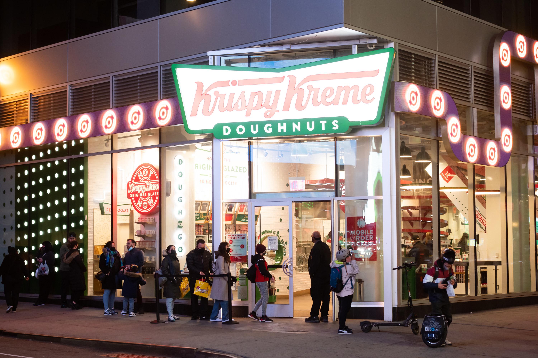 People lining up at Krispy Kreme