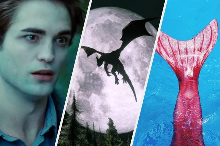 Edward as a vampire, dragon flying, and mermaid tail