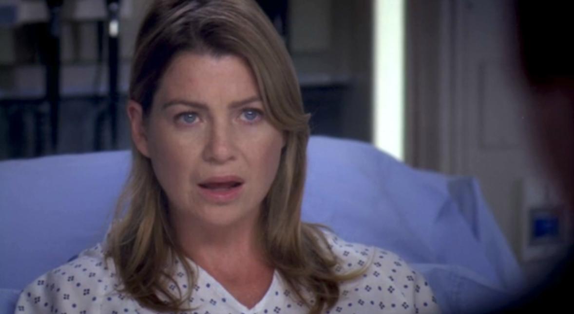 "Meredith looking shocked in ""Grey's Anatomy"""