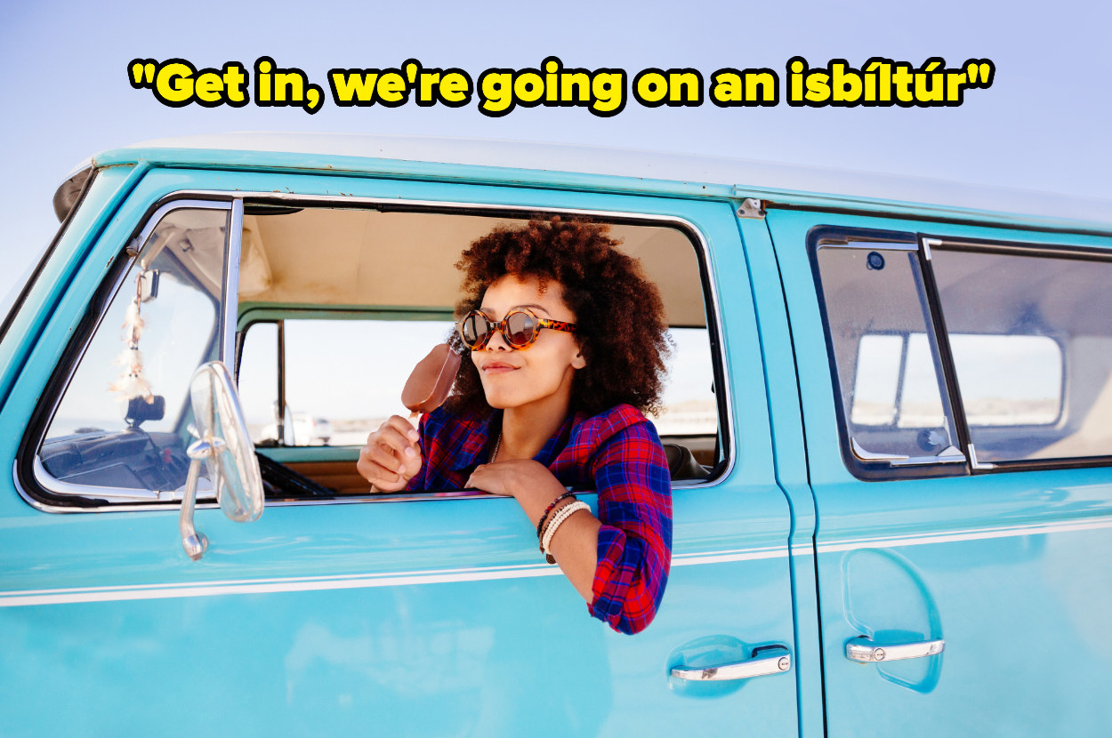 """A Black woman with curly hair and sunglasses leans out of a blue van and smiles with an ice cream. Text above reads """"get in, we're going on an Ísbíltúr"""""""