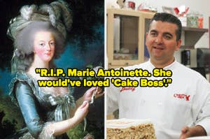 A painting of Marie Antoinette side by side with a pic of Buddy from
