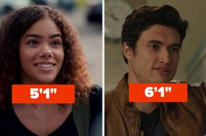 """Antonia Gentry labeled """"five foot one"""" and Charles Melton labeled """"six foot one"""""""