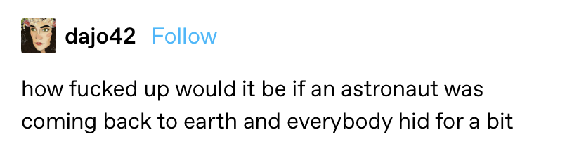 """""""how fucked up would it be if an astronaut was coming back to earth and everybody hid for a bit"""""""