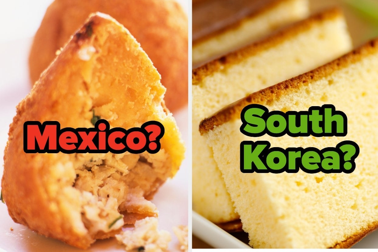 """Coxinha with the word """"mexico?"""" and castella with the words """"South Korea?"""""""