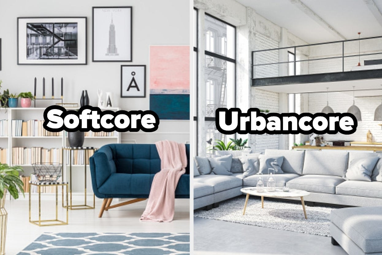 """Modern living room with word """"Softcore"""" and geometric living room with word """"urbancore"""""""