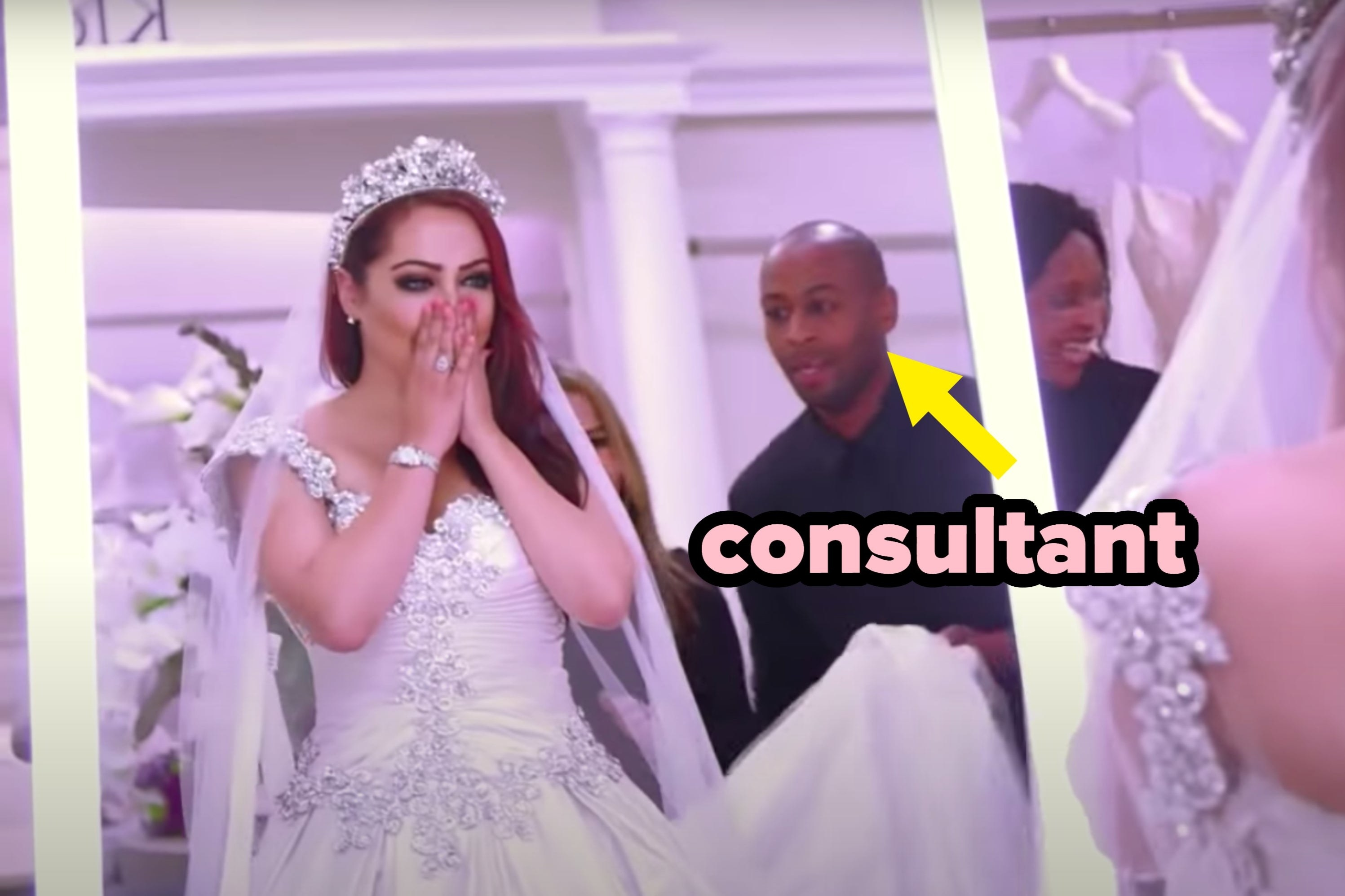 """Bride looking shocked with arrow pointing to """"consultant"""""""