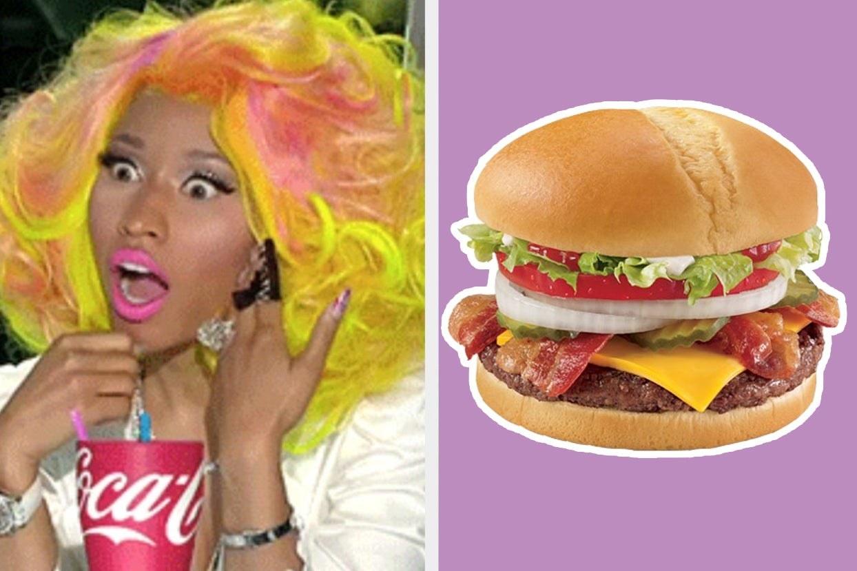 Nicki Minaj looking shocked and Cheese Bacon Grillburger