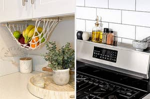 A hanging macrame fruit basket / a shelf for the back of your stove