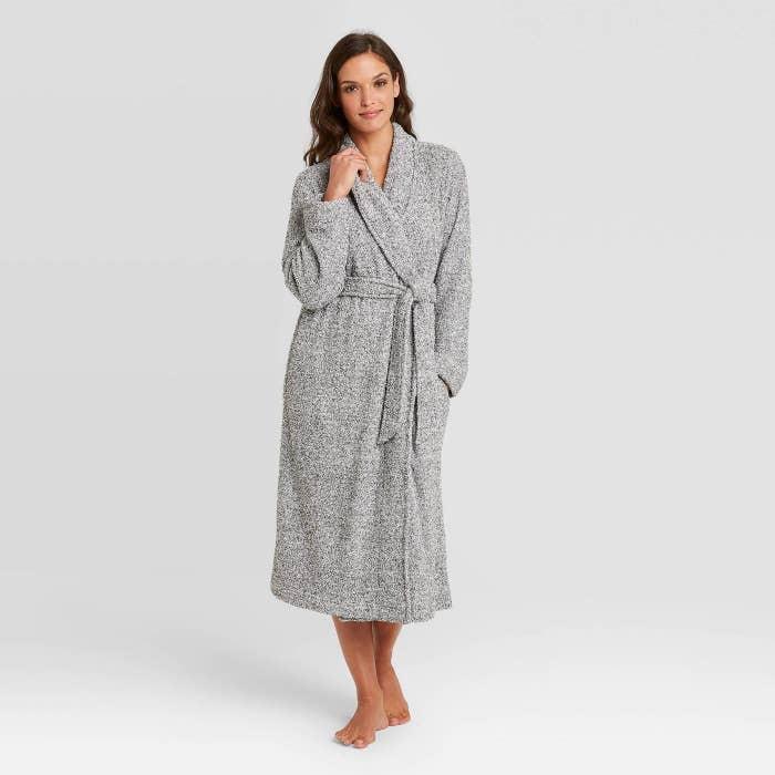 A model wearing a grey chenille robe