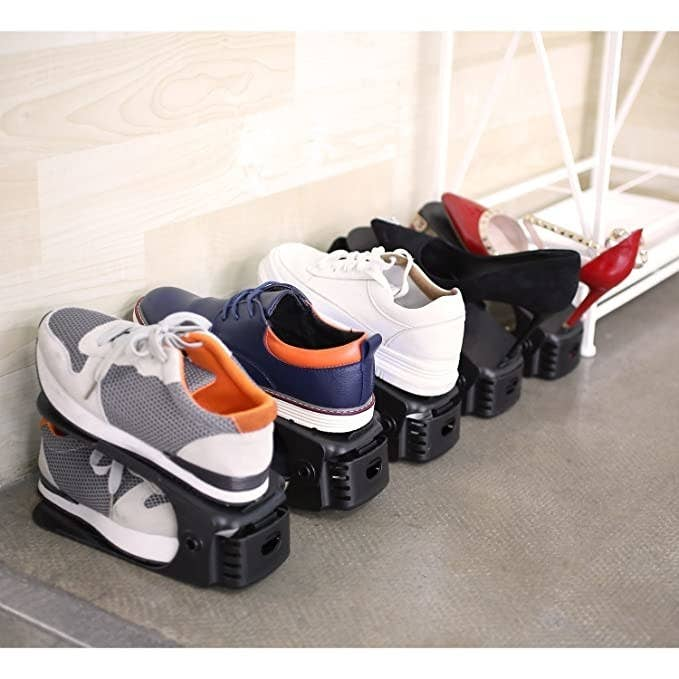 The organiser lets you stack shoes on top of each other