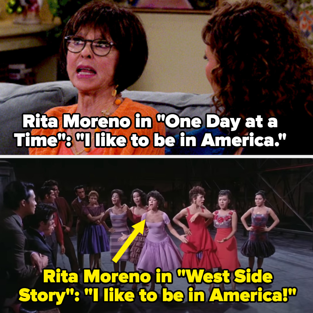 "Rita Moreno's character in One Day at a Time says ""I like to be in America"" — then we see the actor singing that phrase in West Side Story"