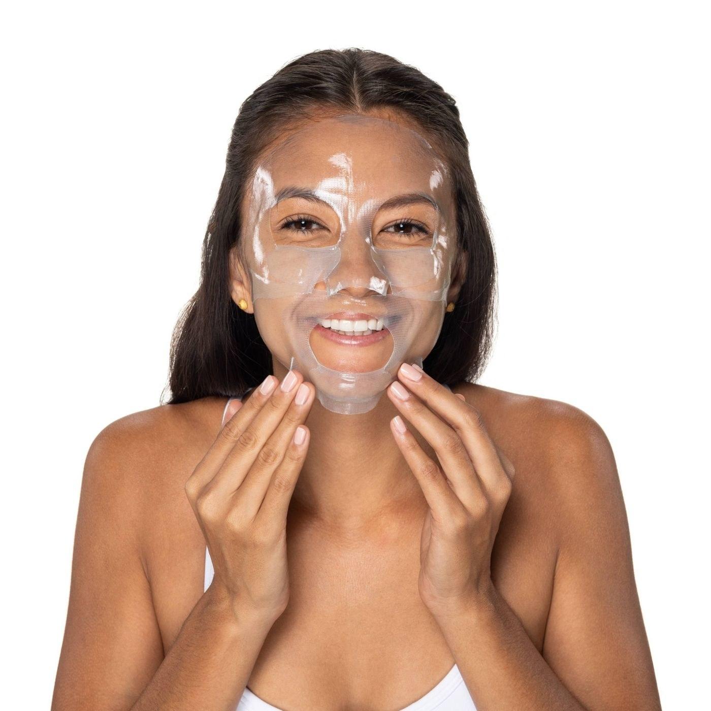 A model wearing a sheet face mask
