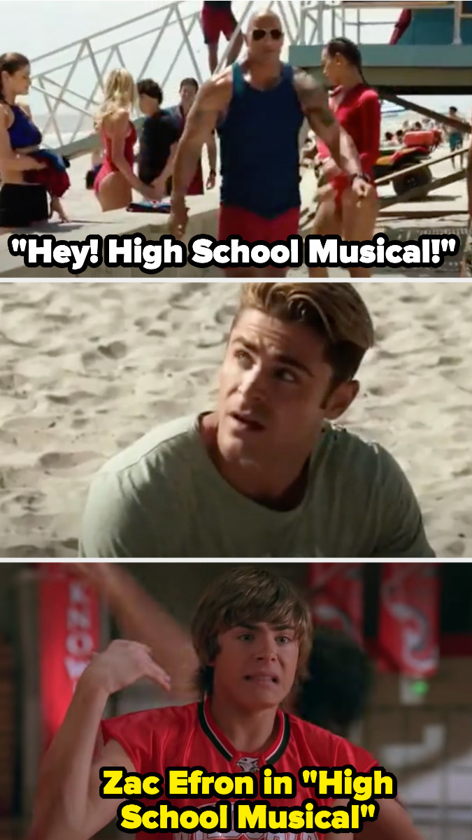 "The Rock calls Zac ""High School Musical,"" then there's a photo of Zac in that film"