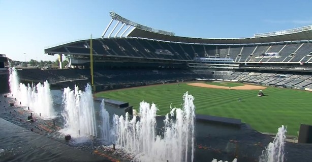 Fountains in the outfield of Kauffman Stadium.