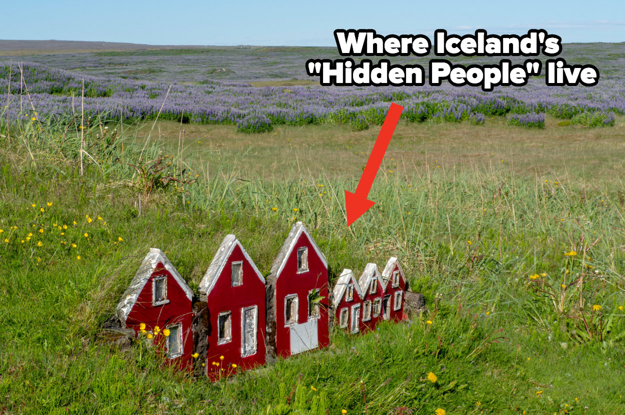 """Tiny red houses stick out of the ground in a field with text explaining """"where Iceland's hidden people live"""""""