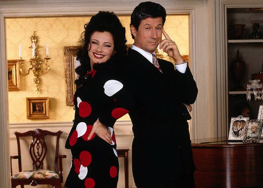 A photo of the The Nanny cast featuring Fran and Charles Shaughnessy