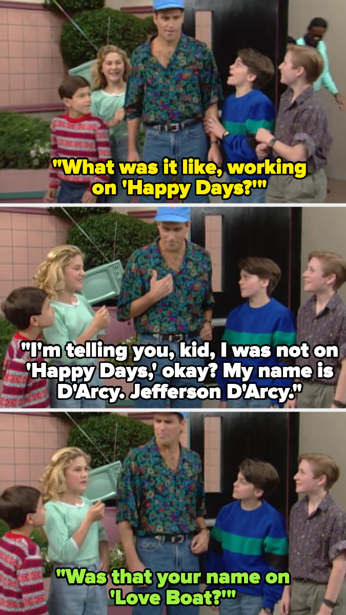 kids ask Jefferson what it was like being on Happy Days, and he says he wasn't on it, and his name is Jefferson — another kid asks if that was his name on Love Boat