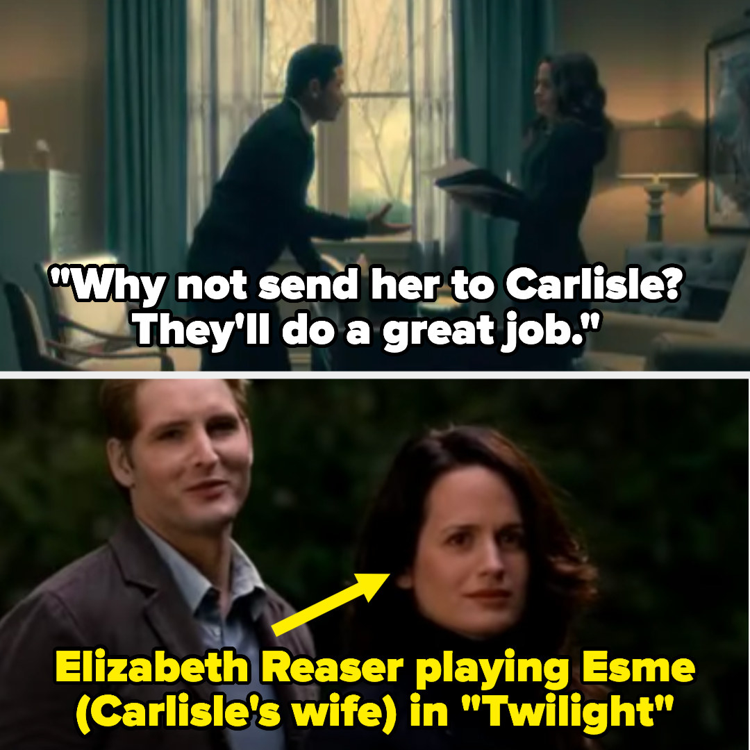 "Kevin says to Shirley on Haunting of Hill House, ""Why not send her to Carlisle?"" and then there's a photo of Elizabeth Reaser playing Esme (Carlisle's wife) in Twilight"