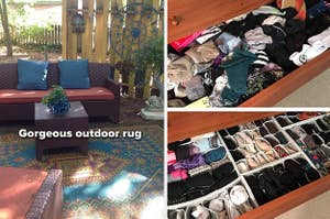 patio with outdoor rug, organized underwear drawer
