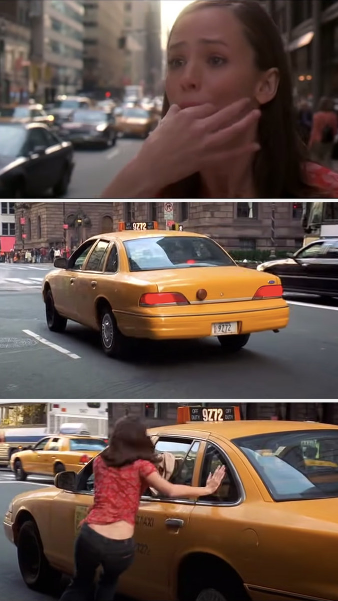 Jenna places her fingers in her mouth to whistle loudly and a cab stops to pull her over