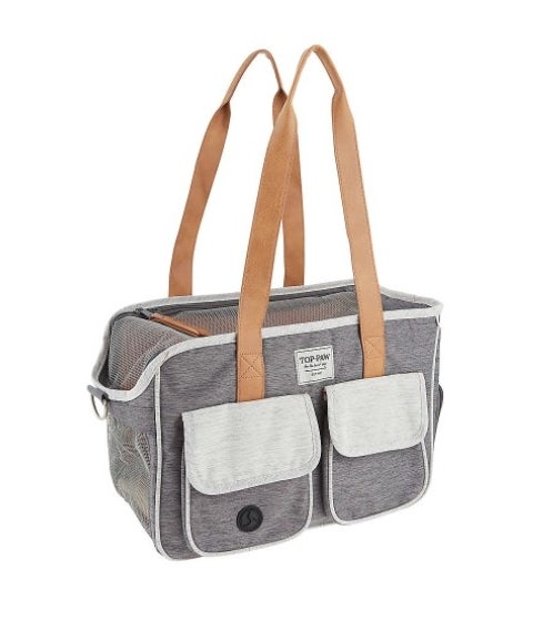 gray tote with brown handles