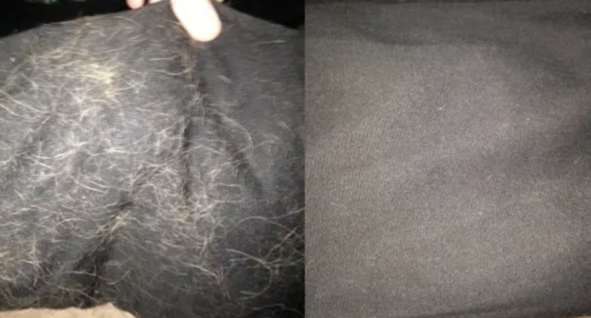 A before and after of a piece of furniture with fur on it