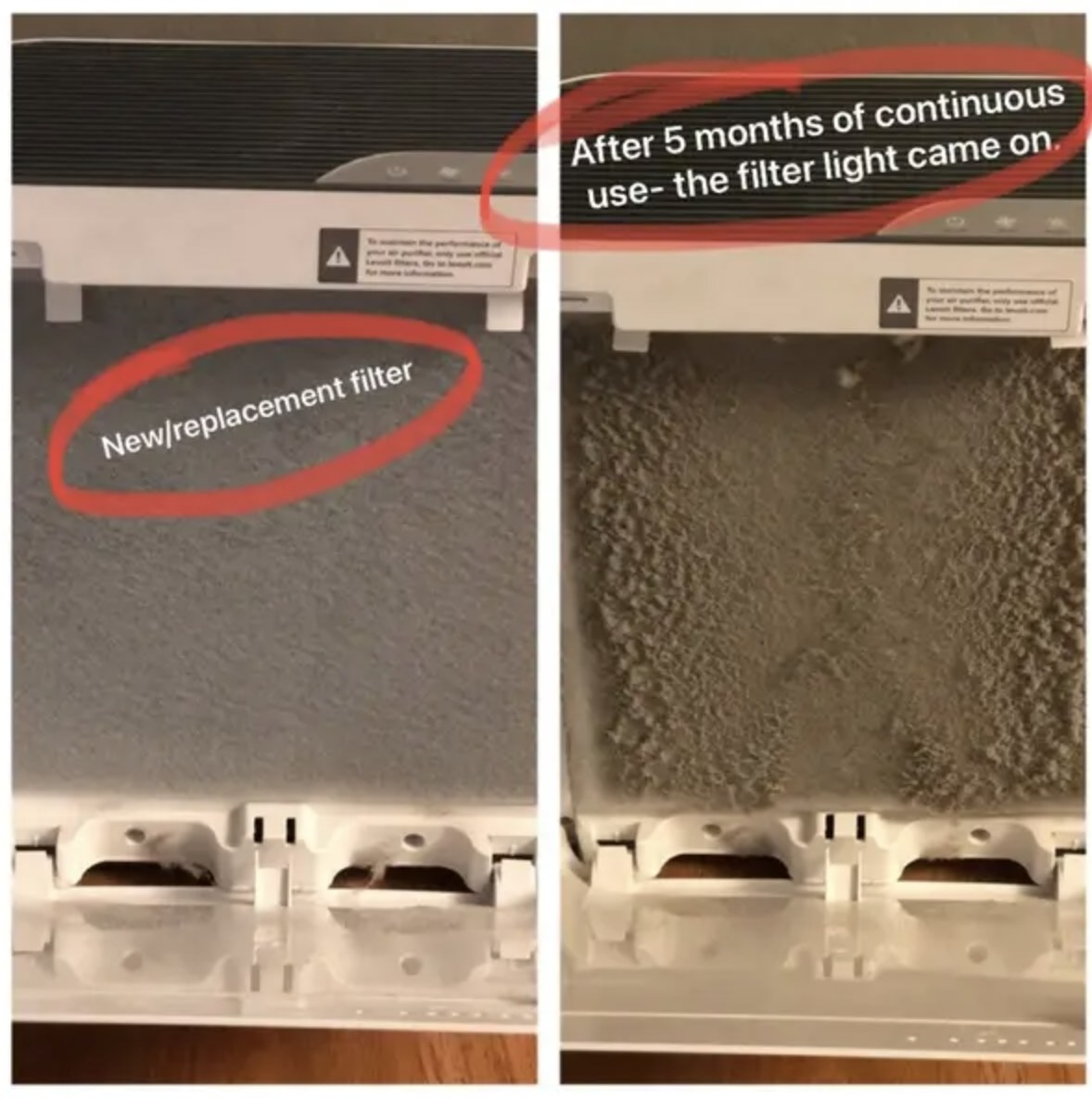 A before and after of a filter from an air purifying system