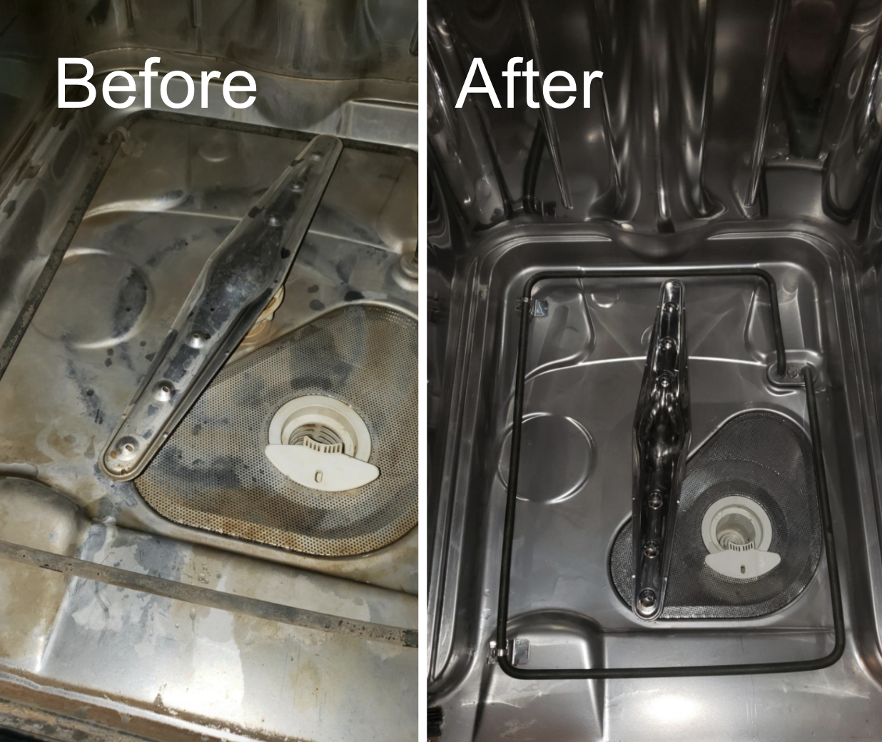 A customer review before and after photo of their dishwasher