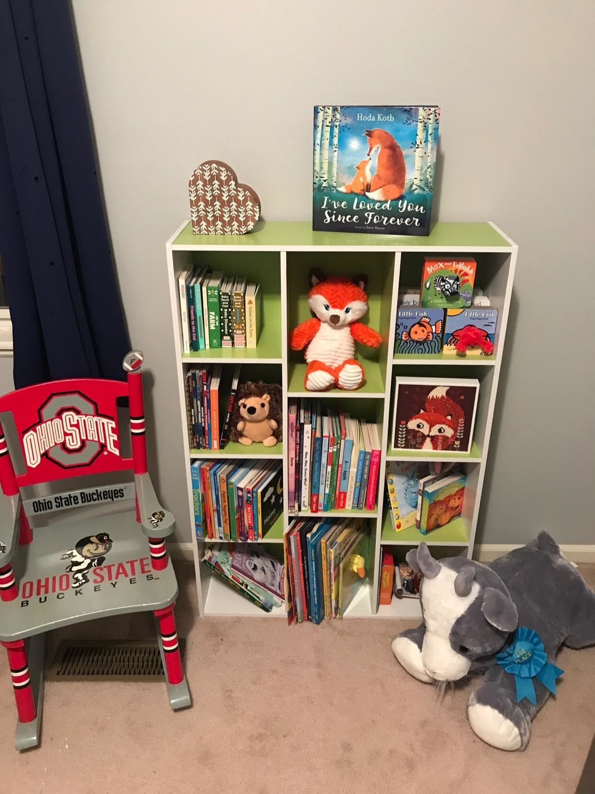 rectangular lime and white bookcase in a nursery