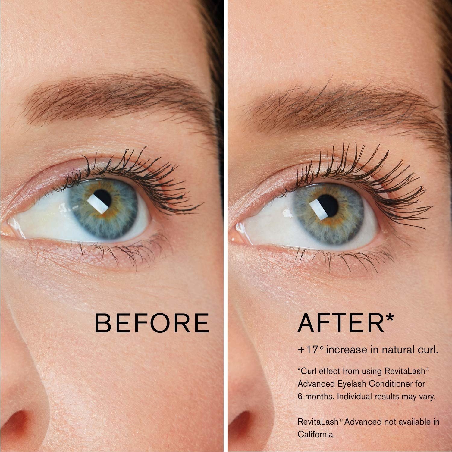 a before and after photo of model with shorter lashes on left and visibly longer lashes on right