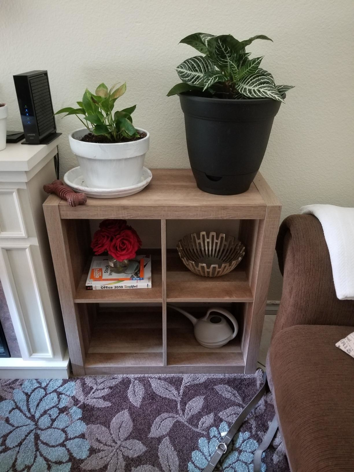 square two by two size light wood bookcase in a reviewer's home