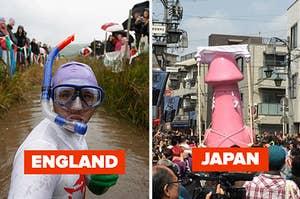 man snorkeling through a bog and a giant pink phallus parade