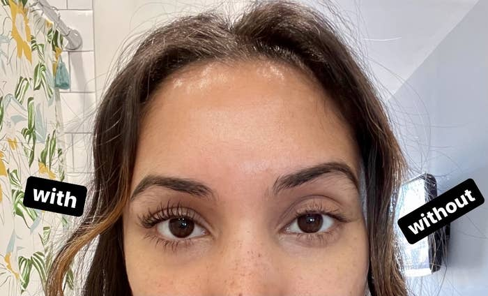 buzzfeed writer's face with one set of eyelashes with no product on and the other wearing the mascara looking longer and darker