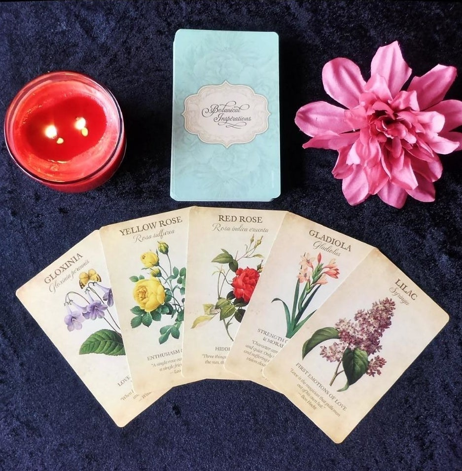 reviewer image of five botanical inspired cards laid out below a lit candle and a pink flower