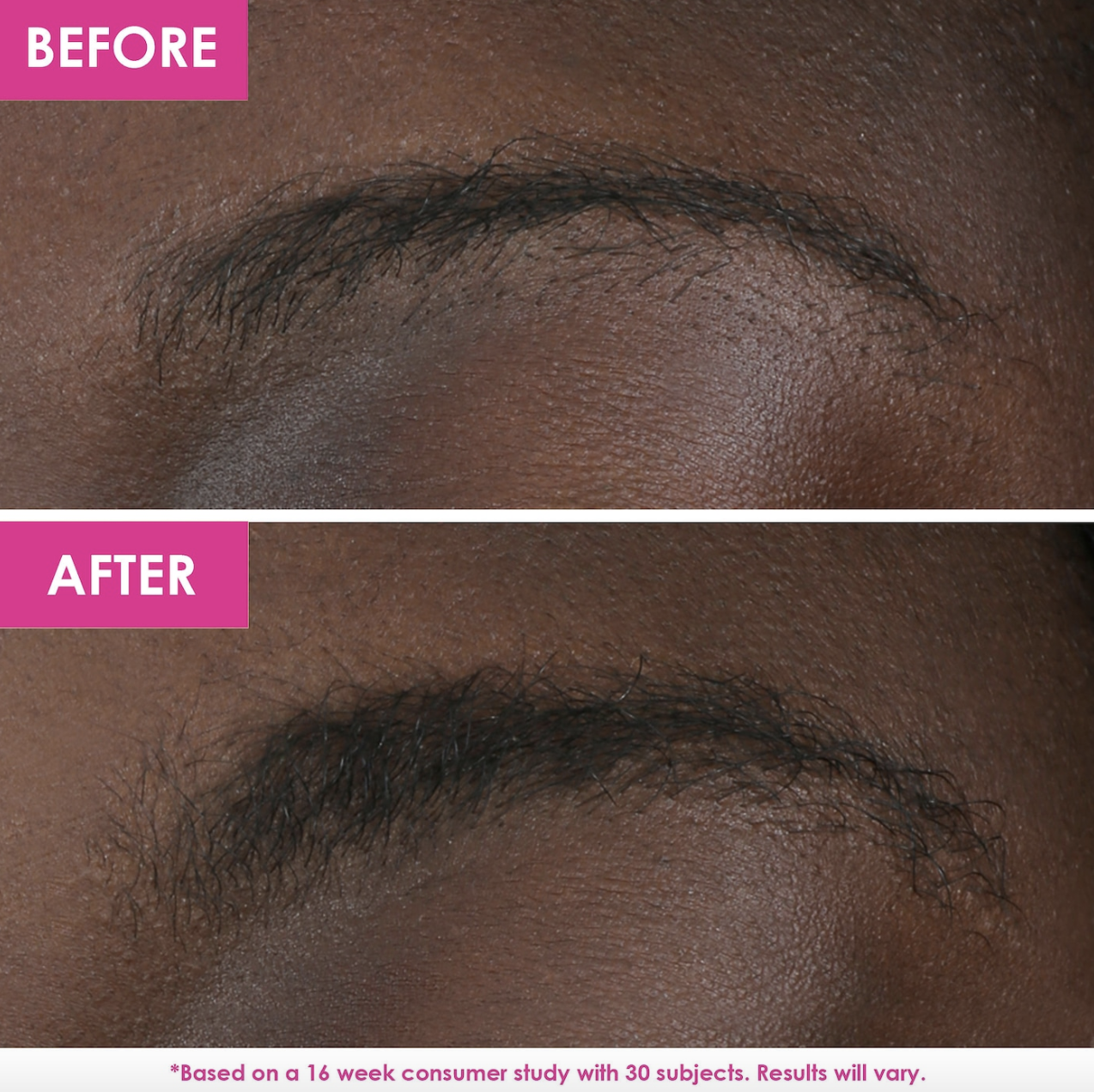 before and after photo of model with sparse eyebrows on top and visibly thicker eyebrows on bottom