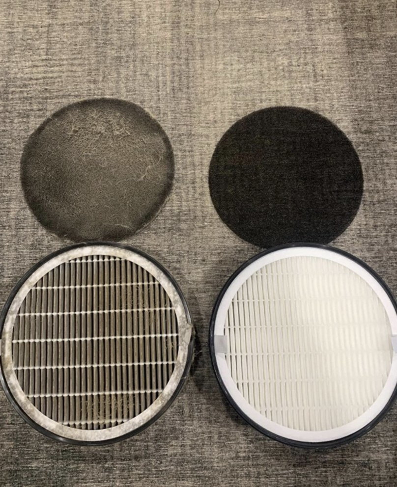 before and after switching out an air purifier filter