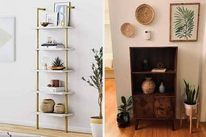 gold and white shelving unit and rectangular wood bookcase