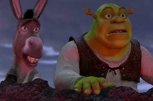 """Mike Myers as Shrek and Eddie Murphy as Donkey in the movie """"Shrek."""""""