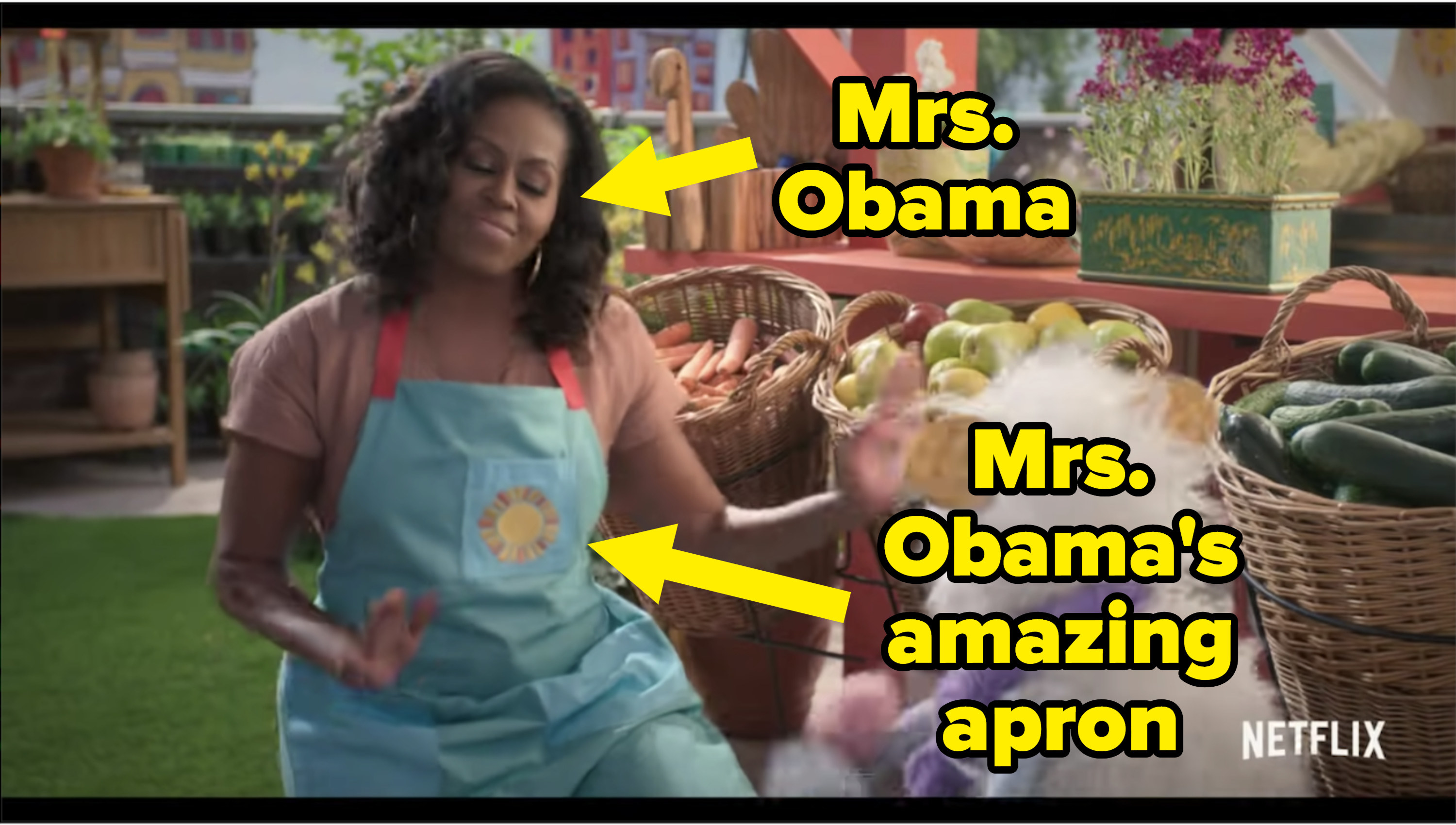 Michelle Obama on the grocery store rooftop