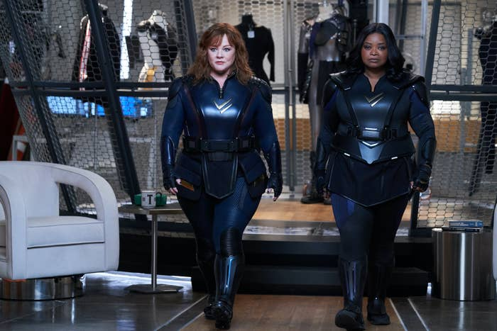 Melissa McCarthy and Octavia Butler walking in Thunder Force