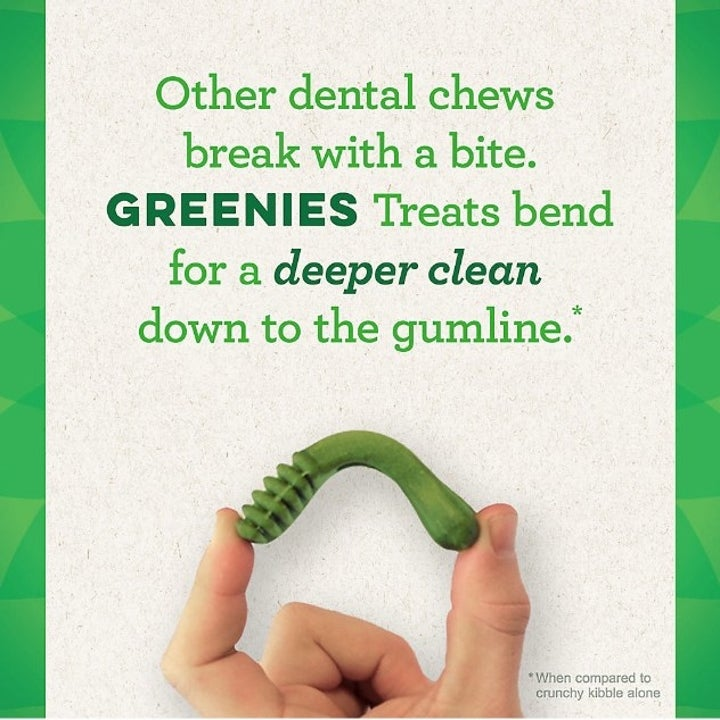 A description of Greenies dental dog treats stating that they're designed for a deeper clean down to your dogs gumline and that they bend