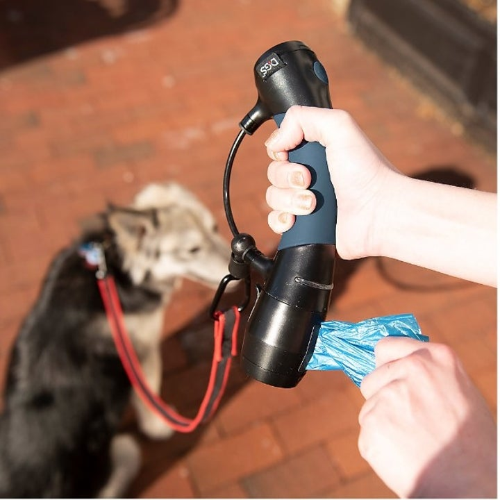 model pulling bag out of leash handle