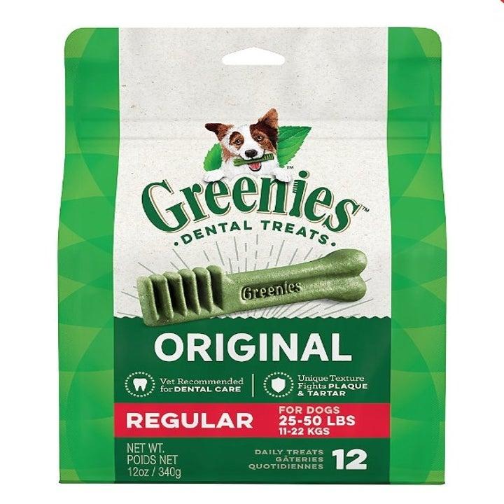 A pack of Greenies regular dental dog treats