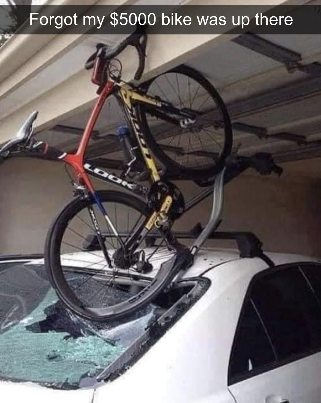 bike bent in half
