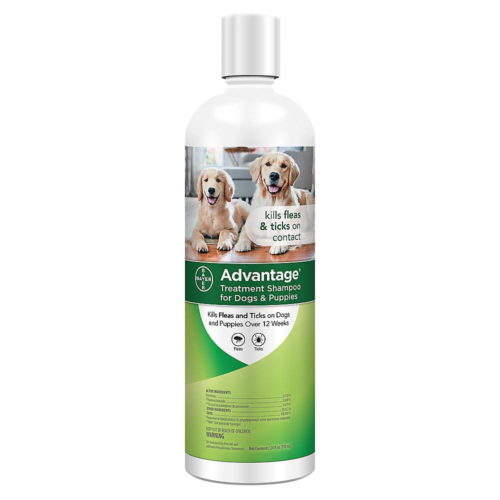 A bottle of Advantage Flea and Tick Dog and Puppy Shampoo
