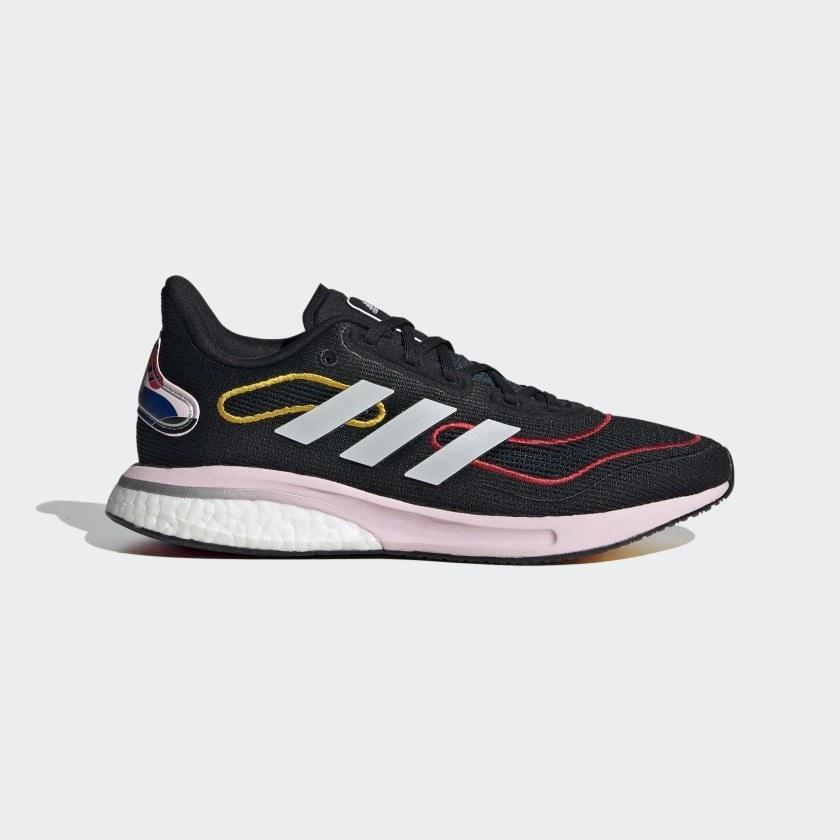 an adidas supernova shoe in Core Black / Cloud White / Vivid Red
