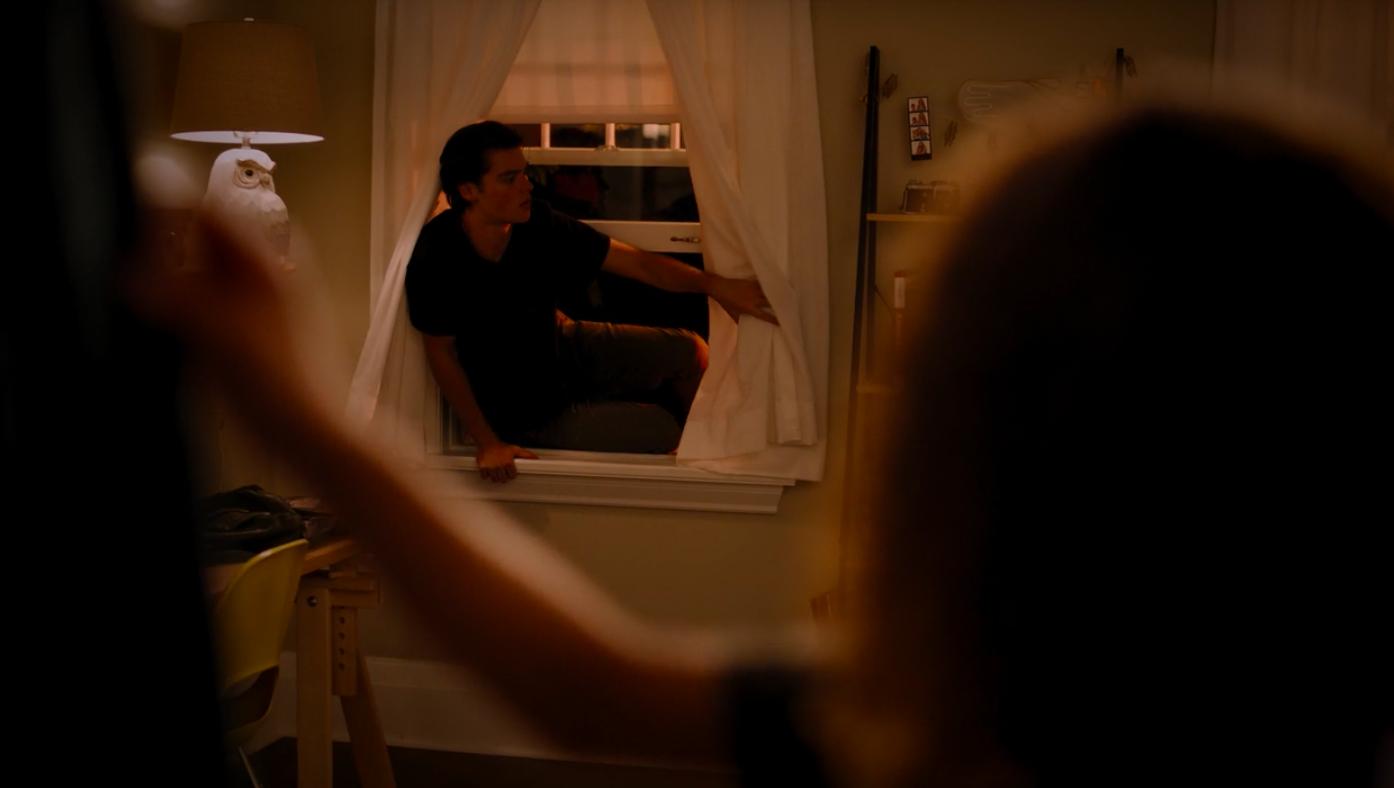 Marcus climbing through Ginny's window